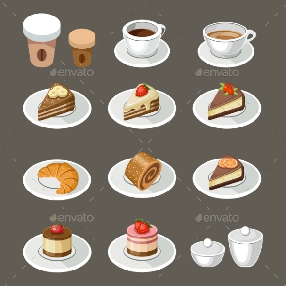 Set of Sweets and Coffee - Food Objects