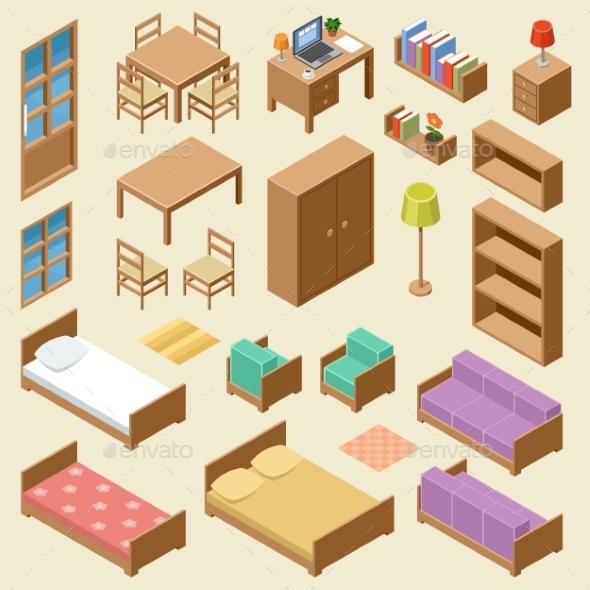 isometric furniture set by gurzzza graphicriver