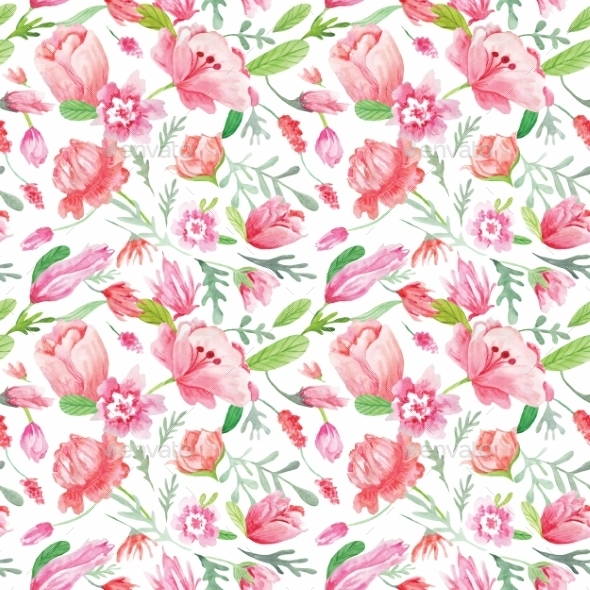 Watercolor Floral Pattern - Backgrounds Decorative