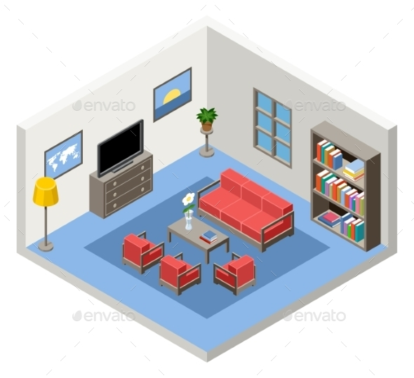Interior of an Isometric Room with Furniture - Buildings Objects