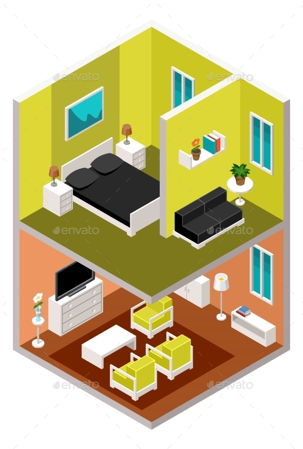 Isometric House in a Section - Buildings Objects