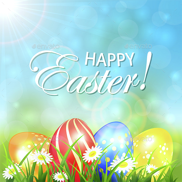 Spring Background with Colored Easter Eggs - Miscellaneous Seasons/Holidays