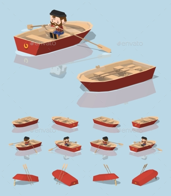 Low Poly Red Punt Boat - Man-made Objects Objects