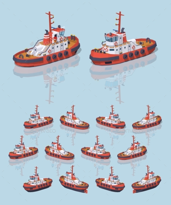 Low Poly Red and White Tugboat - Man-made Objects Objects