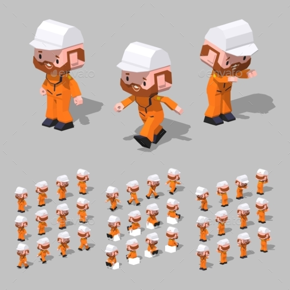 Low Poly Tugboat Sailor - People Characters