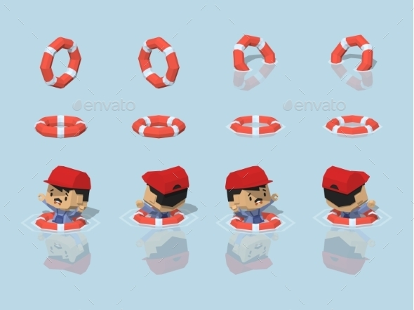 Low Poly Lifebuoy - People Characters