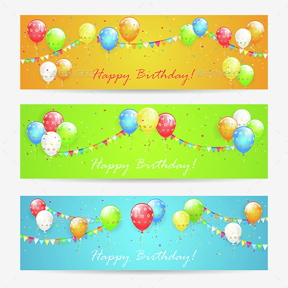 Colorful Birthday Cards with Balloons - Birthdays Seasons/Holidays