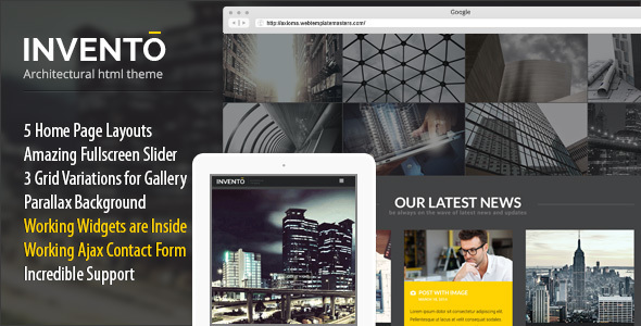 Invento | Architecture Building Agency Template - Business Corporate
