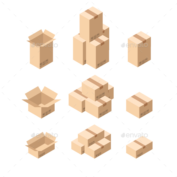 Cardboard Boxes - Objects Vectors