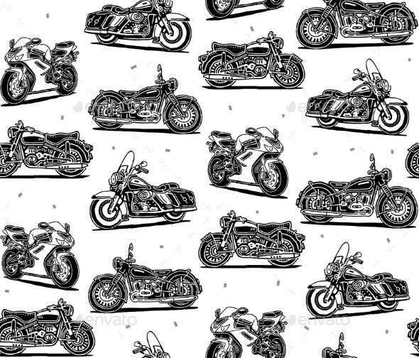 Retro Motorcycles Seamless Pattern - Decorative Symbols Decorative