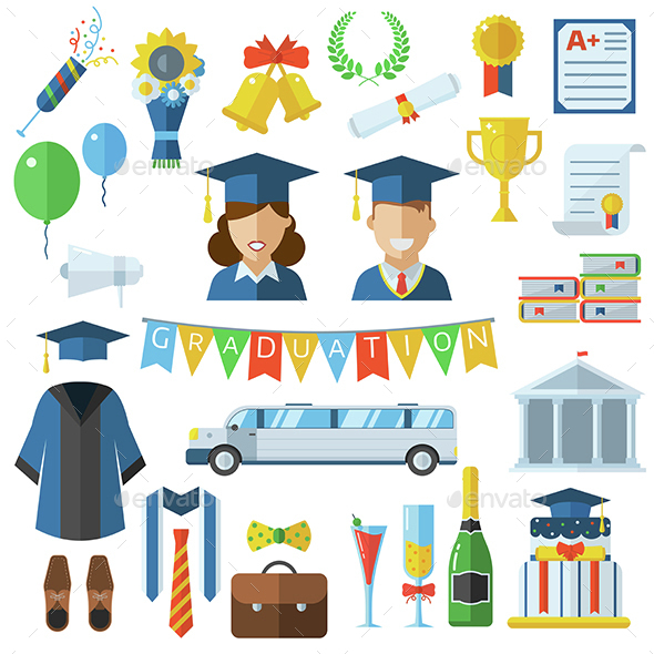 Graduation Day Icons Set - Miscellaneous Conceptual