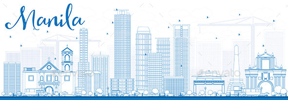 Outline Manila Skyline with Blue Buildings. - Buildings Objects