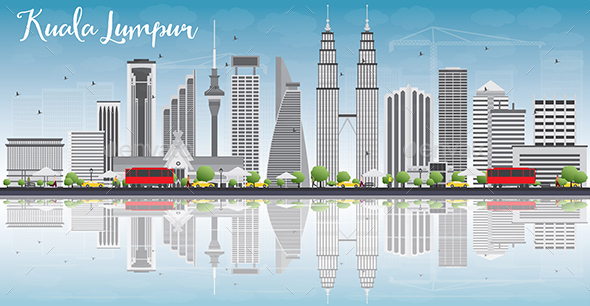 Kuala Lumpur Skyline with Gray Buildings. - Buildings Objects