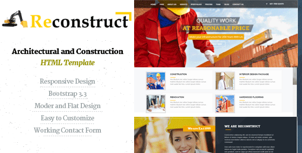 Reconstruct- Construction and Builder HTML Template