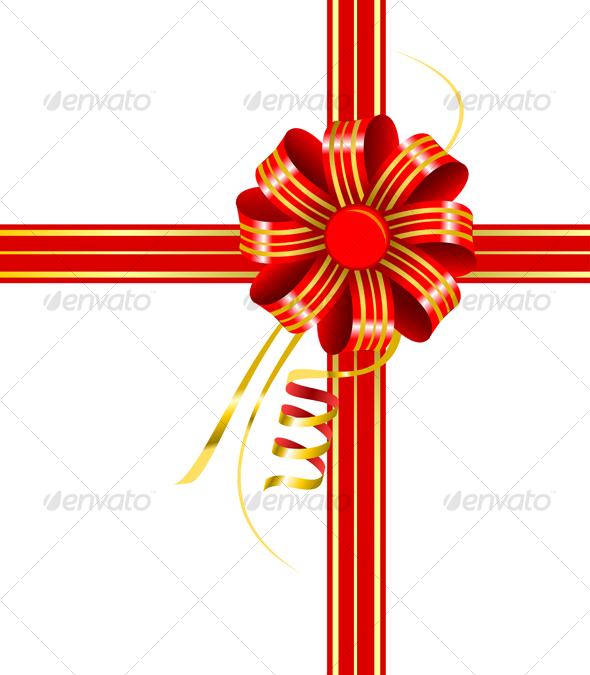 Red bow with ribbons - Decorative Vectors