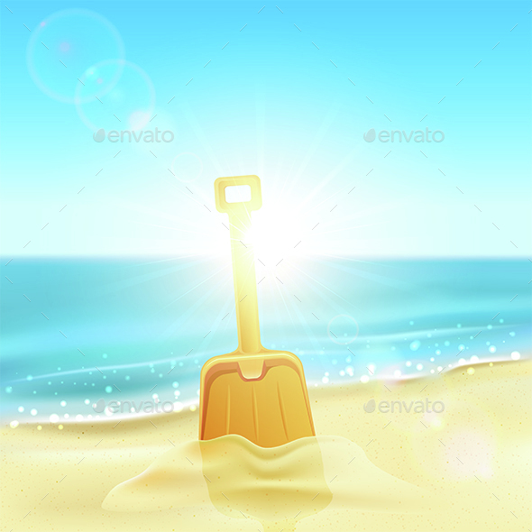 Shovel in Sand on Beach - Landscapes Nature