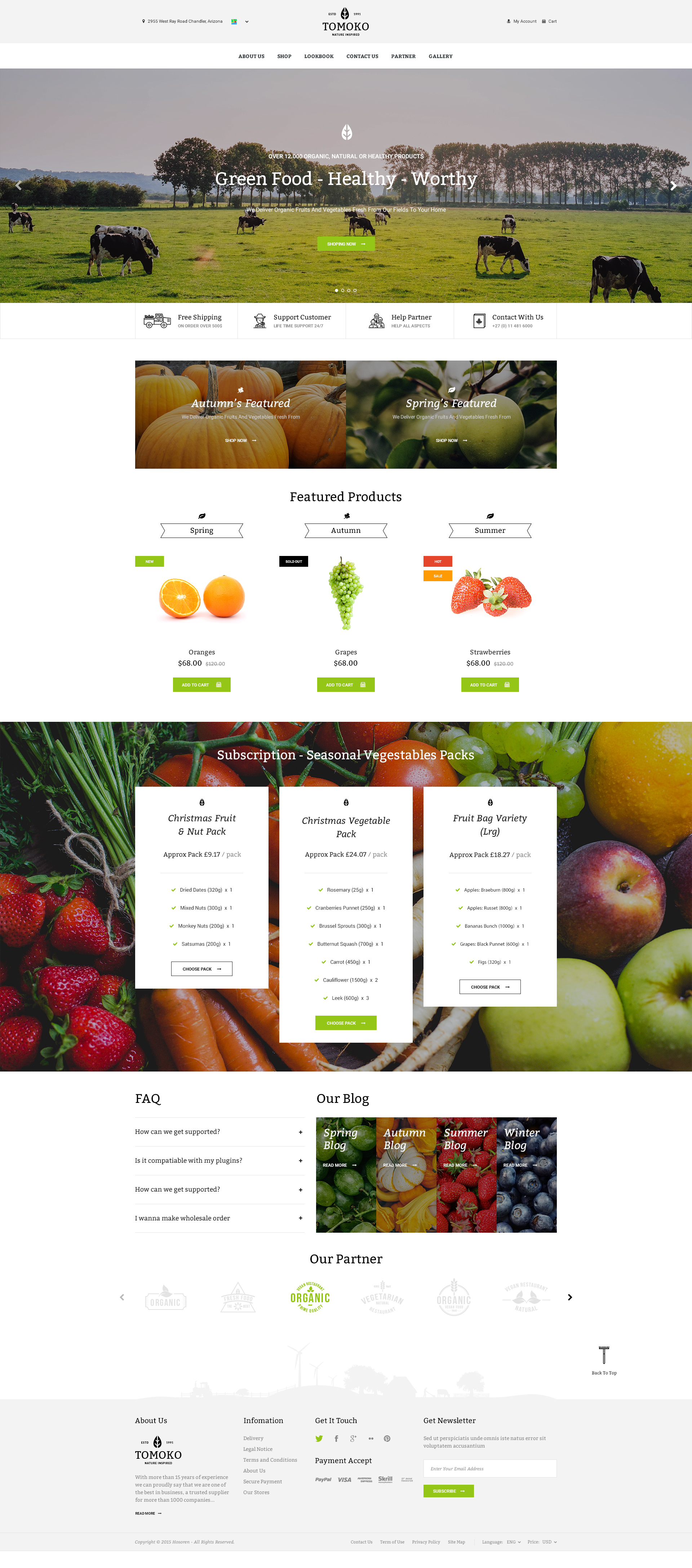 Organic Food/Fruit/Vegetables Responsive Web Store Template ...