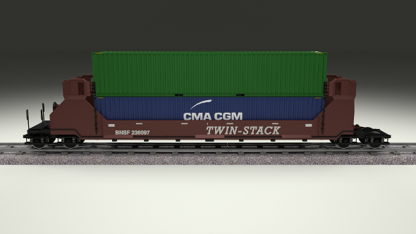 Brown Train Well Car w Containers - 3DOcean Item for Sale