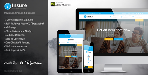 Insure – Insurance, Finance, & Business Muse Template