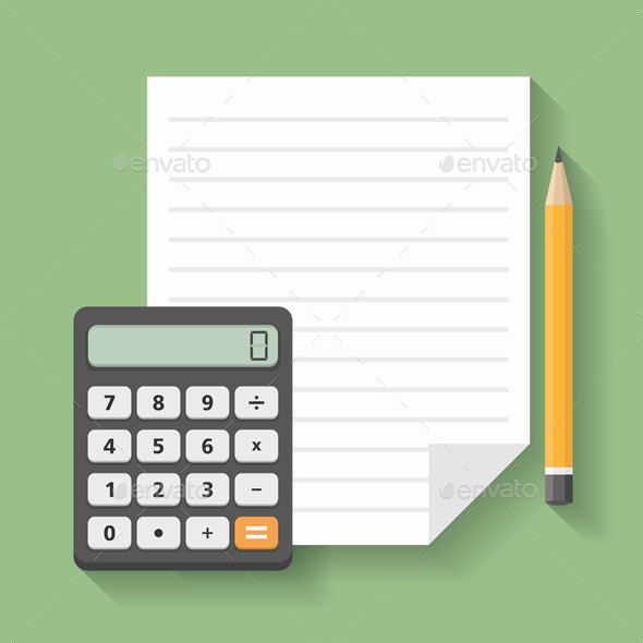 Calculator with Paper and Pencil - Man-made Objects Objects
