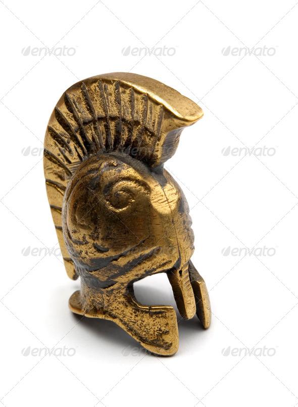 Bronze greek helmet - Stock Photo - Images