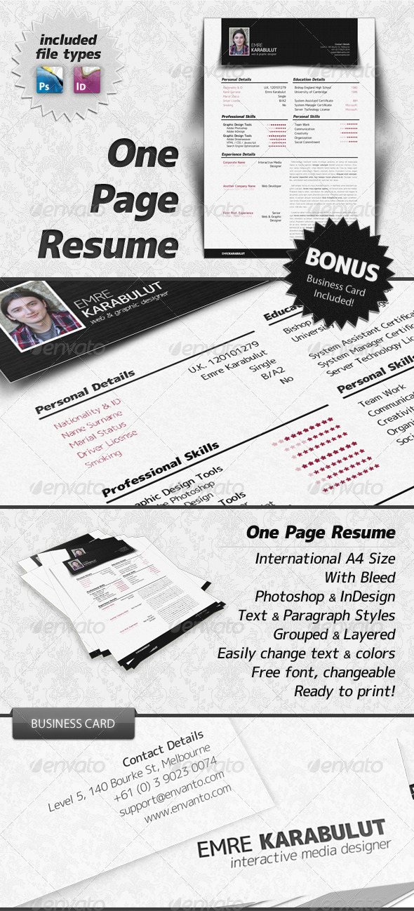 Minimalist One Page Resume (CV) - Resumes Stationery