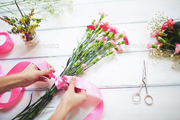 Making a bouquet - Stock Photo - Images
