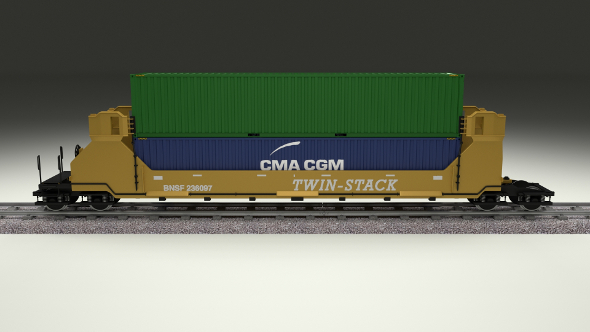 Yellow Train Well Car w Containers - 3DOcean Item for Sale
