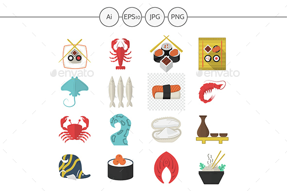 Asian and seafood menu flat vector icons - Food Objects