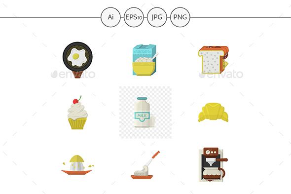 Breakfast menu flat color vector icons - Food Objects