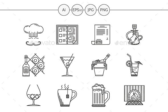 Restaurant black line vector icons - Food Objects