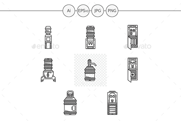 Black line water cooler icons set - Man-made objects Objects