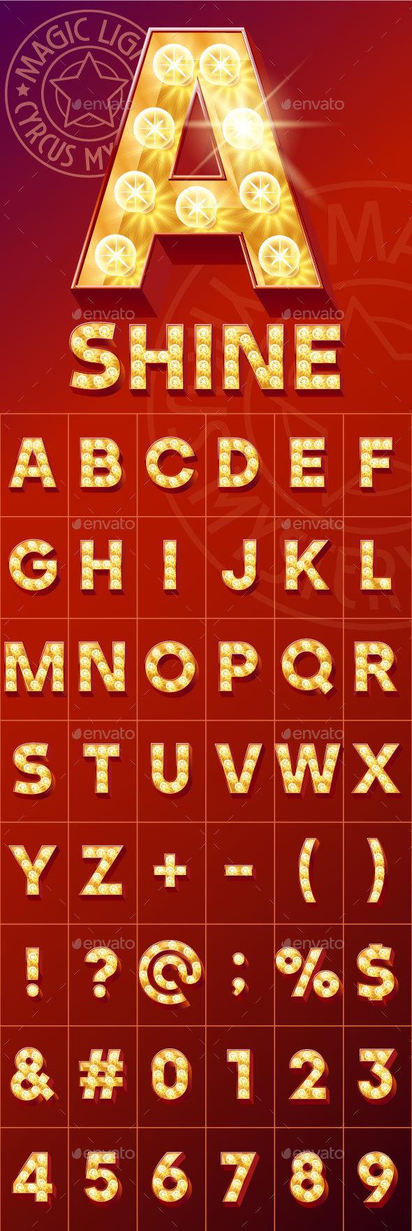 Magical Red Light Up Font - Decorative Symbols Decorative