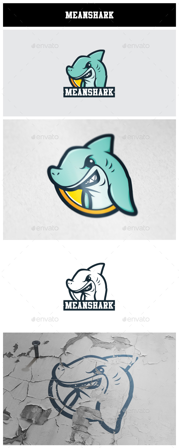 MeanShark Logo - Animals Logo Templates