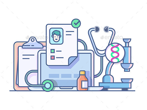 Medical Stethoscope Microscope Accessories - Health/Medicine Conceptual