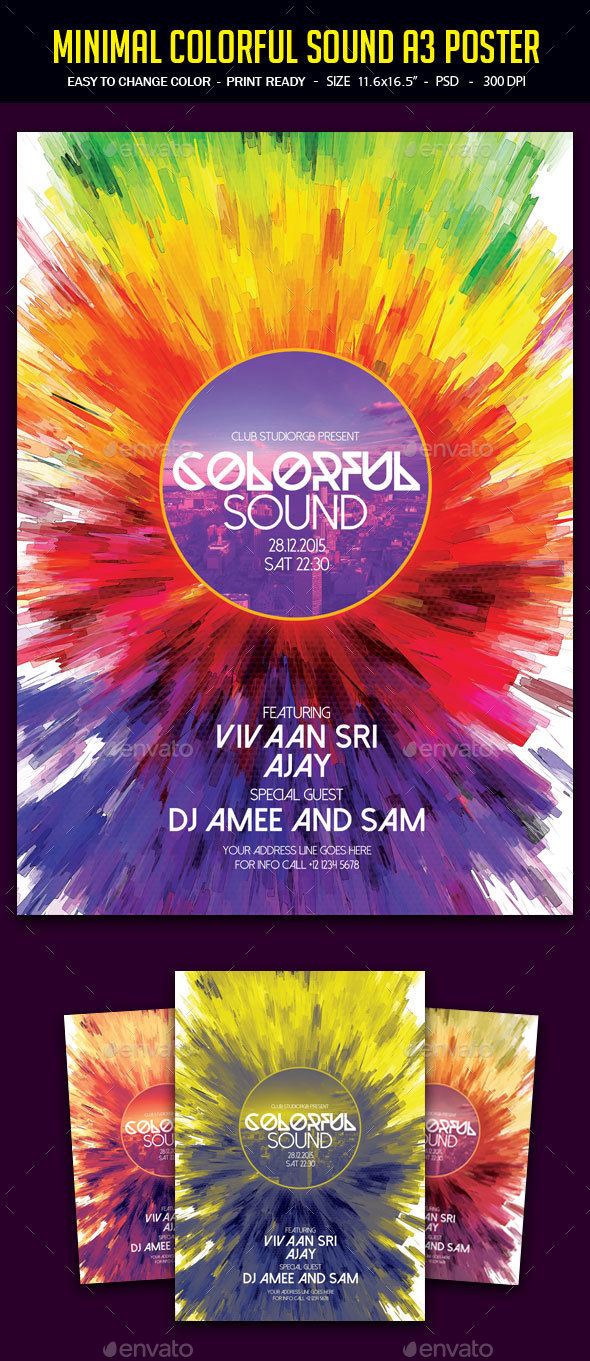 Minimal Colorful Sound A3 Poster - Clubs & Parties Events