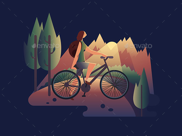 Girl on Bicycle at Sunset - People Characters