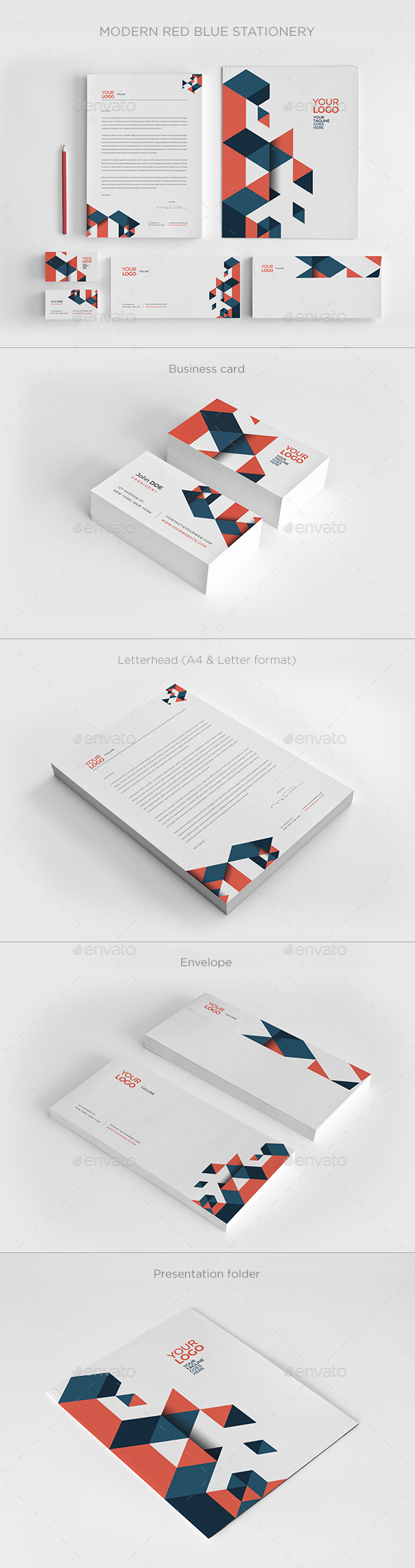 Modern Red Blue Stationery - Magazines Print Templates