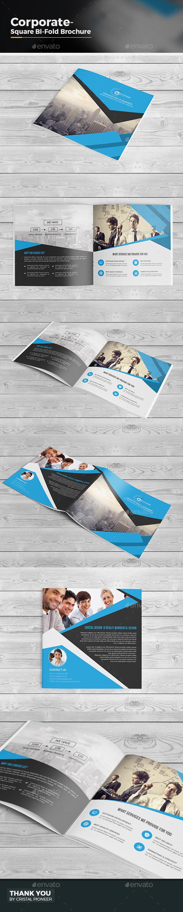 Square Bi Fold Brochure Template - Corporate Brochures
