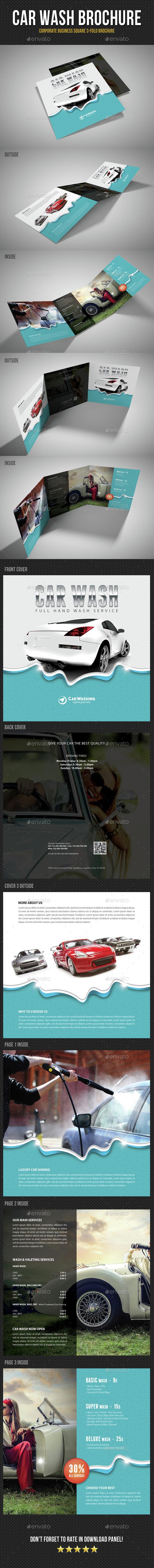 Car Wash Square 3-Fold Brochure 02 - Brochures Print Templates