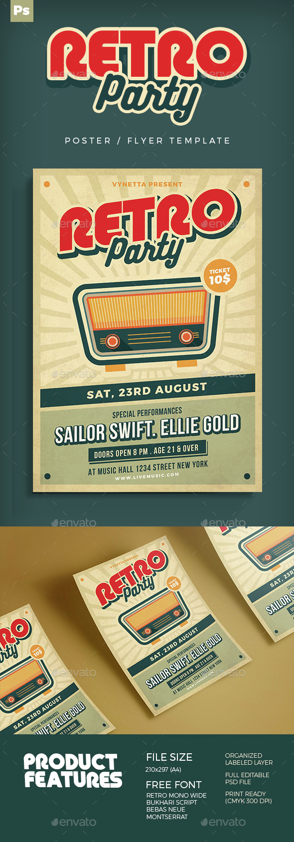 Retro Music Poster / Flyer - Concerts Events