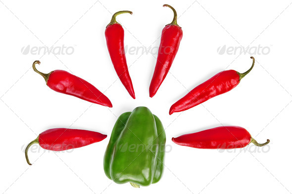 Sweet and hot peppers - Stock Photo - Images