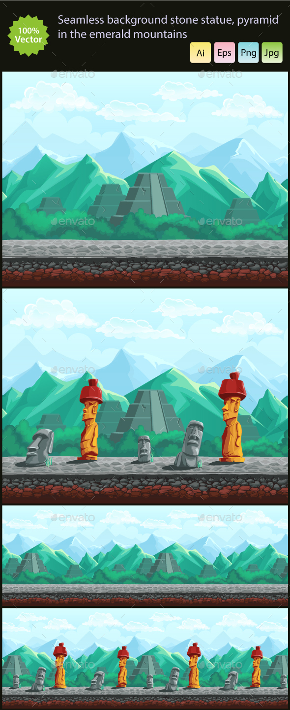 Stone Statue and Pyramid in the Emerald Mountains - Backgrounds Game Assets