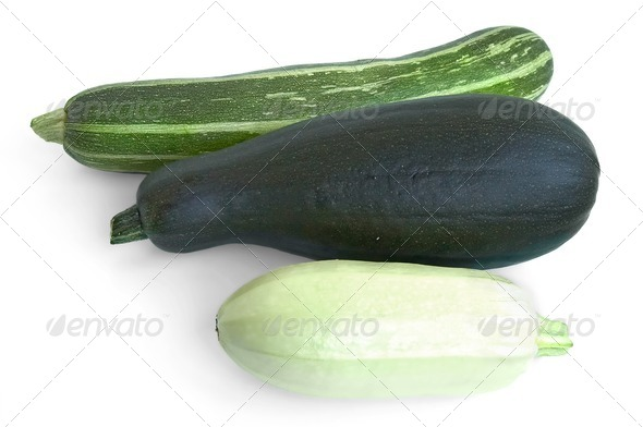 Three courgettes - Stock Photo - Images