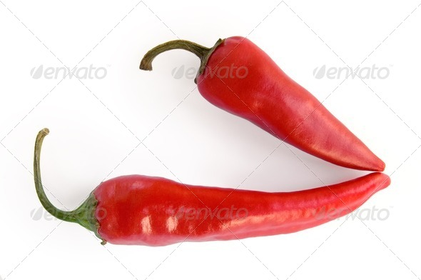 Two pods of hot pepper - Stock Photo - Images