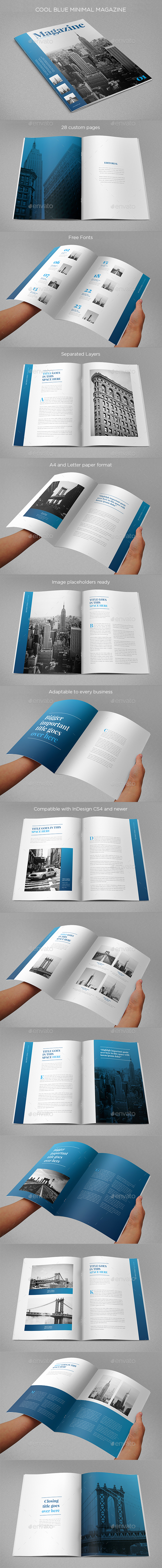 Cool Blue Minimal Magazine - Magazines Print Templates