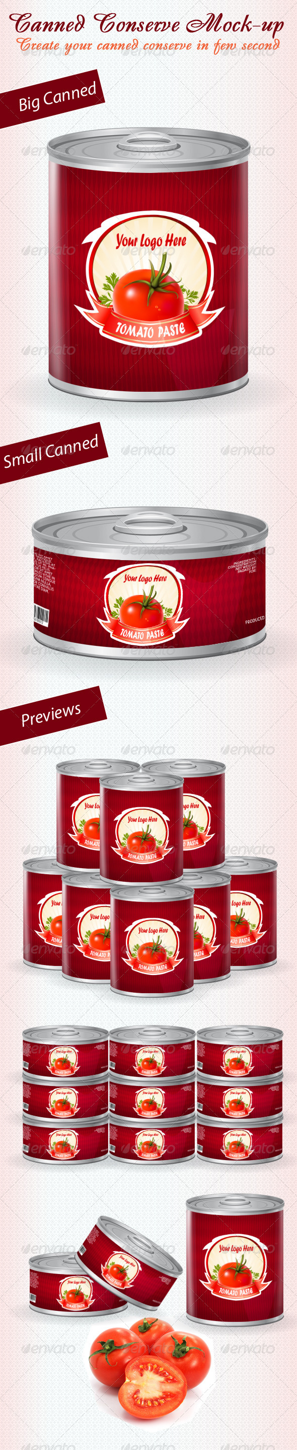 Canned Conserve Mock-up - Food and Drink Packaging