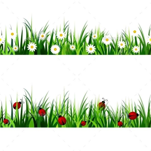 Green Grass Seamless Set - Flowers & Plants Nature