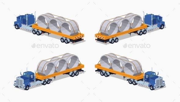 Low Poly Blue Heavy Truck and Yellow Trailer - Man-made Objects Objects