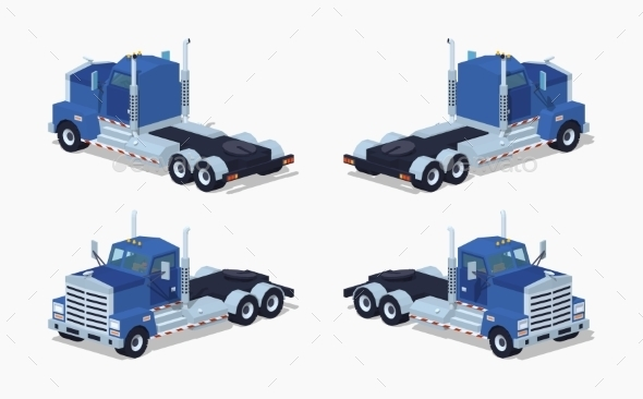 Low Poly Blue Heavy Truck - Man-made Objects Objects